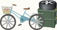 空いたスペースは自転車やカー用品置き場に