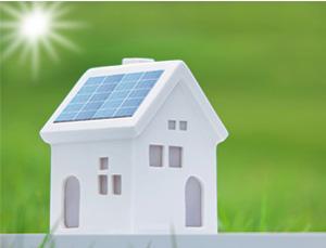 太陽光発電が設置されたミニチュア家